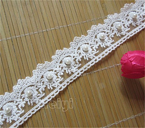 2 Meters Pearl Flower Cotton Crochet Lace Edge Trim Ribbon 4 cm Width Vintage Ivory White Edging Trimmings Fabric Embroidered Applique Sewing Craft Wedding Dress Embellishment DIY Clothes Embroidery