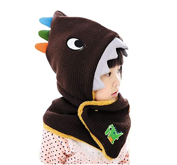 JGJSTAR Kids Winter Warm Dinosaur Hats Scarf Toddlers Boys Girls Cute Knit  Lined Fleece Caps ( 33e648cda25