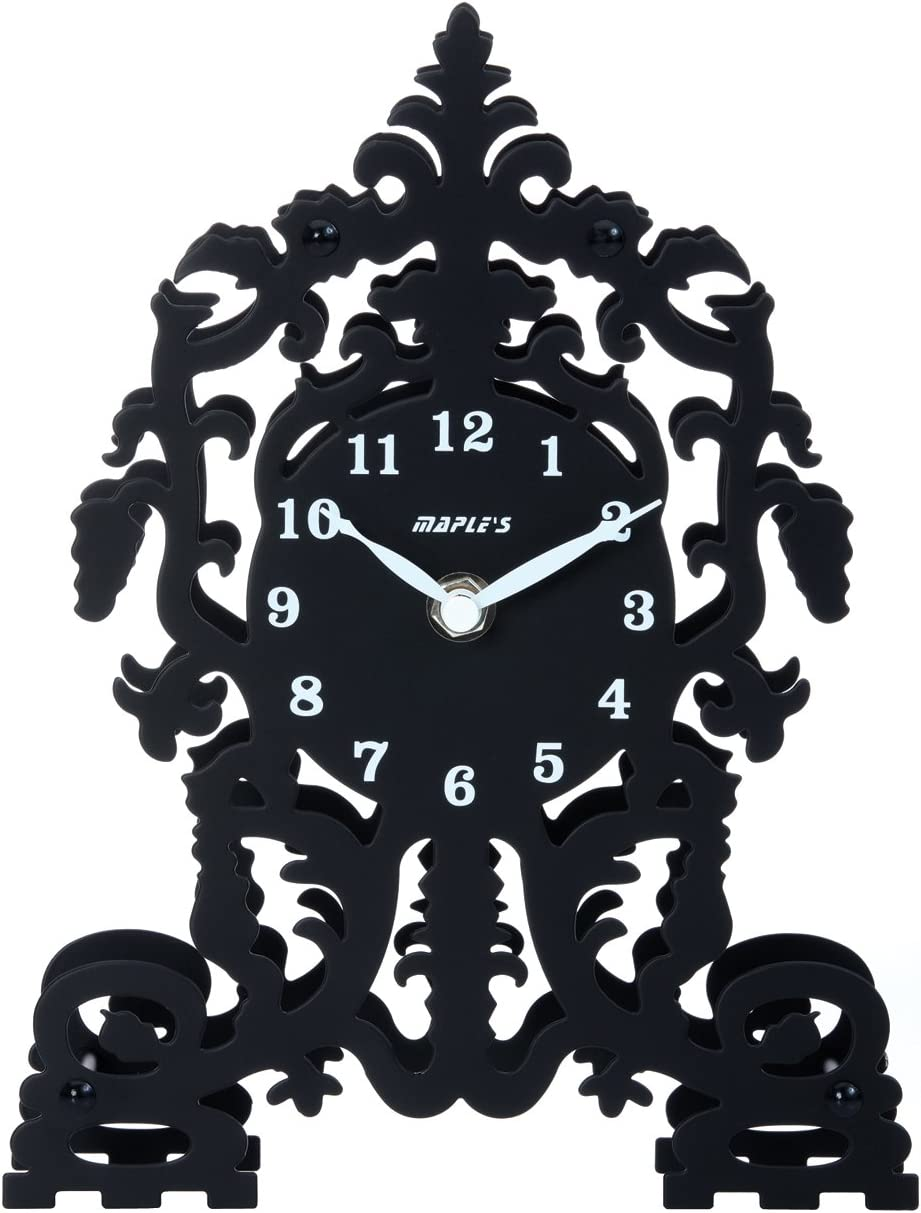 Maple's Ornate Cathedral Silhouette Metal Table Clock