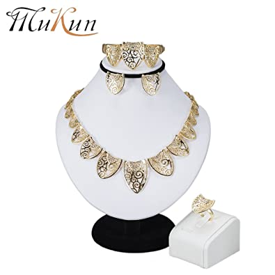 MUKUN Fashion Dubai Bridal Jewelry Sets-Women 18k Gold Plated Earrings Necklace Set for Gift  sc 1 st  Amazon.com & Amazon.com: MUKUN Fashion Dubai Bridal Jewelry Sets-Women 18k Gold ...