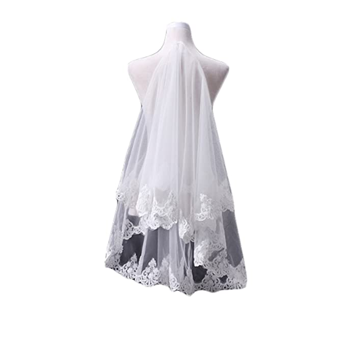 Fishlove Women s Applique Lace Wedding Veils Without Comb V1014 at Amazon  Women s Clothing store  8fe53afe24