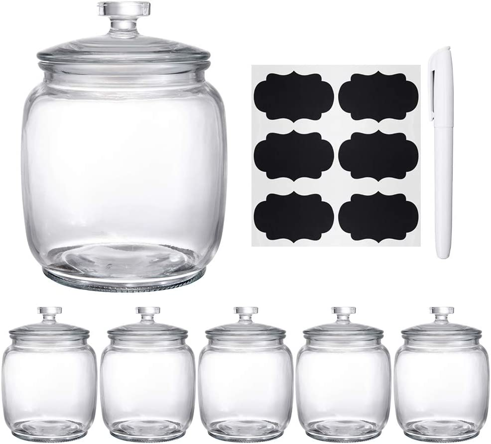 Daitouge 30 FL oz Glass Jars with Lids, Glass Storage Jars with Easy-Open Lids, Canning Jars for Kitchen Glass Canisters, Set of 6