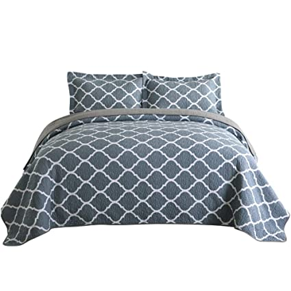 Moroccan Style Gray King Size Newlake Cotton Bedspread Quilt Sets Reversible Patchwork Coverlet Set Quilt Sets Bedding Sets Collections