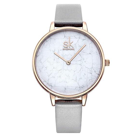 SHENGKE K0066L mujer damas elegantes reloj de cuarzo analógico impermeable pulsera con correa de cuero genuino: Amazon.es: Relojes