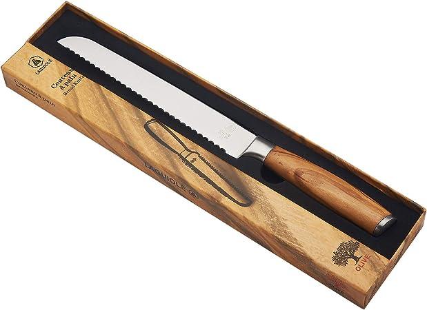 Couteau à pain en bois d Olivier,lame en acier inoxydable fabrication française