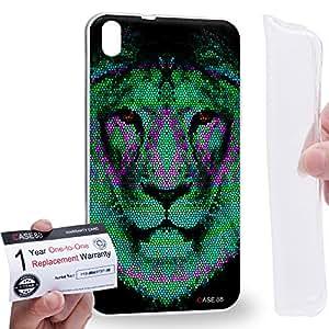 Case88 [HTC Desire 816] Gel TPU Carcasa/Funda & Tarjeta de garantía - Art Aztec Design Lion Green Animal Faces Art1379