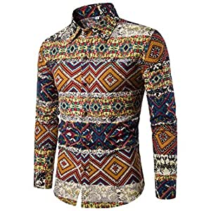 e880442d61b27 Men Shirts Daoroka Men s Plus Size Casual Floral Printed Long Sleeve Button  Business Blouse Collar Beach Wear Slim Fit Fashion Tops Comfort T Shirt  (4XL