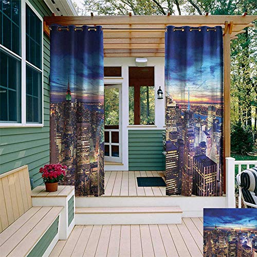leinuoyi City, Outdoor Curtain Extra Wide, Empire State and Skyscrapers of Midtown Manhattan New York Aerial View at Dusk, for Privacy W120 x L96 Inch Tan Navy Blue Aqua ()