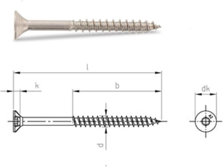 Edelstahl TORX Senkkopf-Schraube aus V2A 8-mm stark 140-mm Schrauben-L/änge 25 St/ück 80-mm Teil-Gewinde Holz-Schraube 8x140