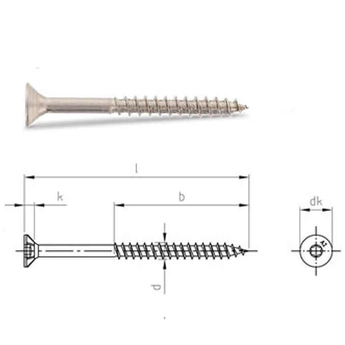 Edelstahl TORX Senkkopf-Schraube aus V2A 5-mm stark 45-mm Schrauben-L/änge 400 St/ück 30-mm Teil-Gewinde Holz-Schraube 5x45