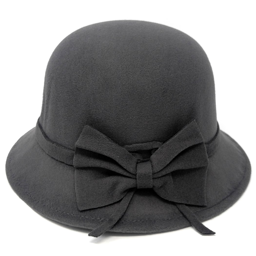 1920s Style Hats Vintage Style Felt Cloche Fedora Hat Matching Hatband with Side Bow Adjustable $24.95 AT vintagedancer.com