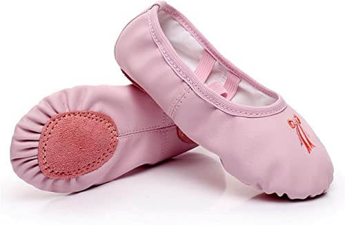 Girls Leather Ballet Shoes Pink Dance
