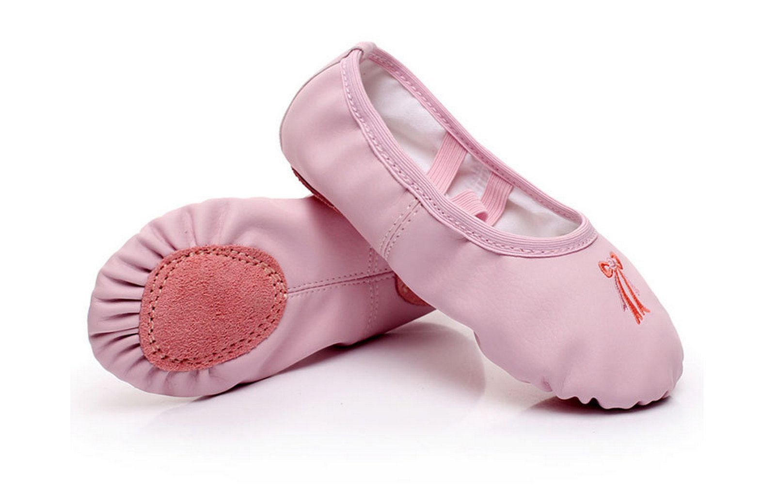 Girls Leather Ballet Shoes Pink Dance Gymnastics Shoes Split Sole Flat (Little Kid 11M - Foot Length: 6.69 inches/17cm)