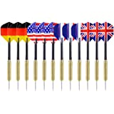 Ohuhu Steel Tip Darts National Flag Flights Stainless Steel Tip Dart Set with Extra PVC Dart Rods | 12 Pack / 24 Pack