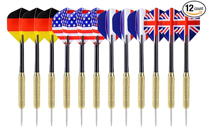 Ohuhu 12 Pcs Tip Darts with National Flag Flights – Best Choice For Those On A Tight Budget