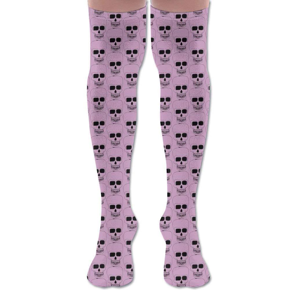 2345ca44632 redhearty Small Skulls On Pink Youth Soccer Socks Teens Knee High Football Socks  Long Striped Rugby Tube Socks Sport Lightweight Tube Long Knee Socks ...