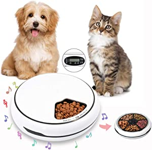Automatic Pet Feeder,GEMGO 5-Meal Food Tray with Programmable Timer,Voice Recorder-Battery and Plug-in Power-auto Dry Wet Food Dispenser for Small & Medium Dogs,Cats