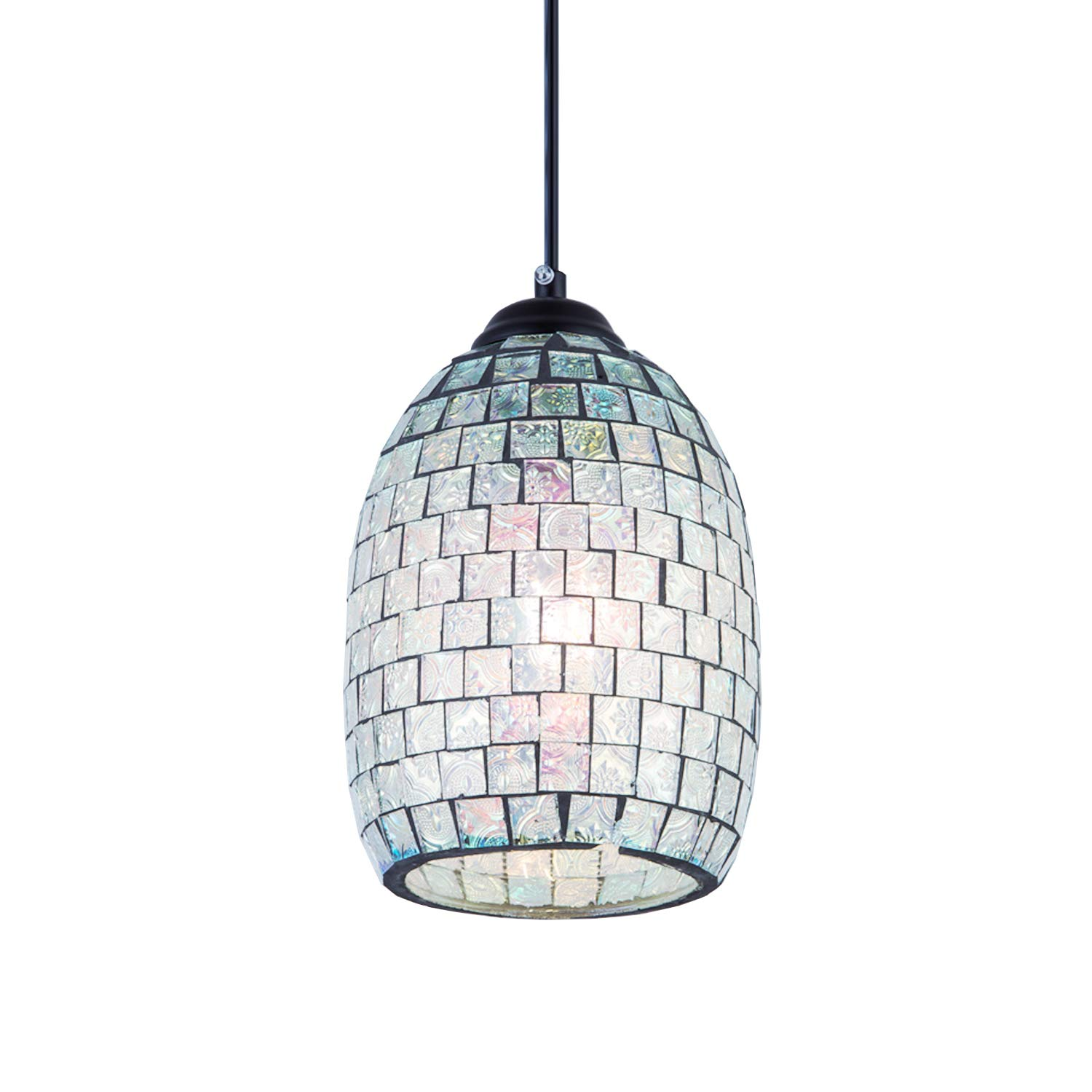 Modern Mini Pendant Lighting Fixture, Mosaic Ceiling Lamp Mediterranean Decorative Plating Colorful Dimmable Cord with Hand Crafted Shell Glass for Restaurant, Cafe, Dining Room, Indoor, 1-Pack