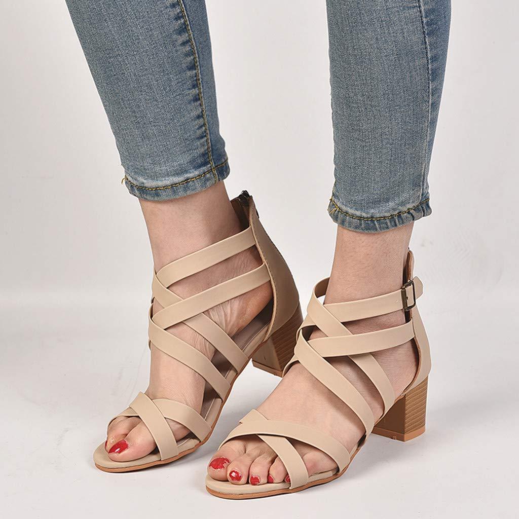 Chengzhijianzhu Women Sandals Solid Square Block Heel Shoes Back Zipper Roman Straps Summer Shoes Plus Size Size5-9