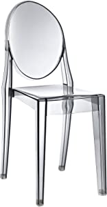 Modway Casper Modern Acrylic Stacking Kitchen and Dining Room Chair in Smoke - Fully Assembled
