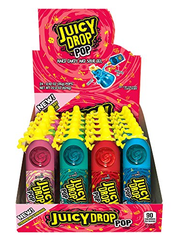 Juicy Drop Pop Sweet Lollipops Candy with Sour Liquid, Assorted Flavors Variety Box (Pack Of 24)