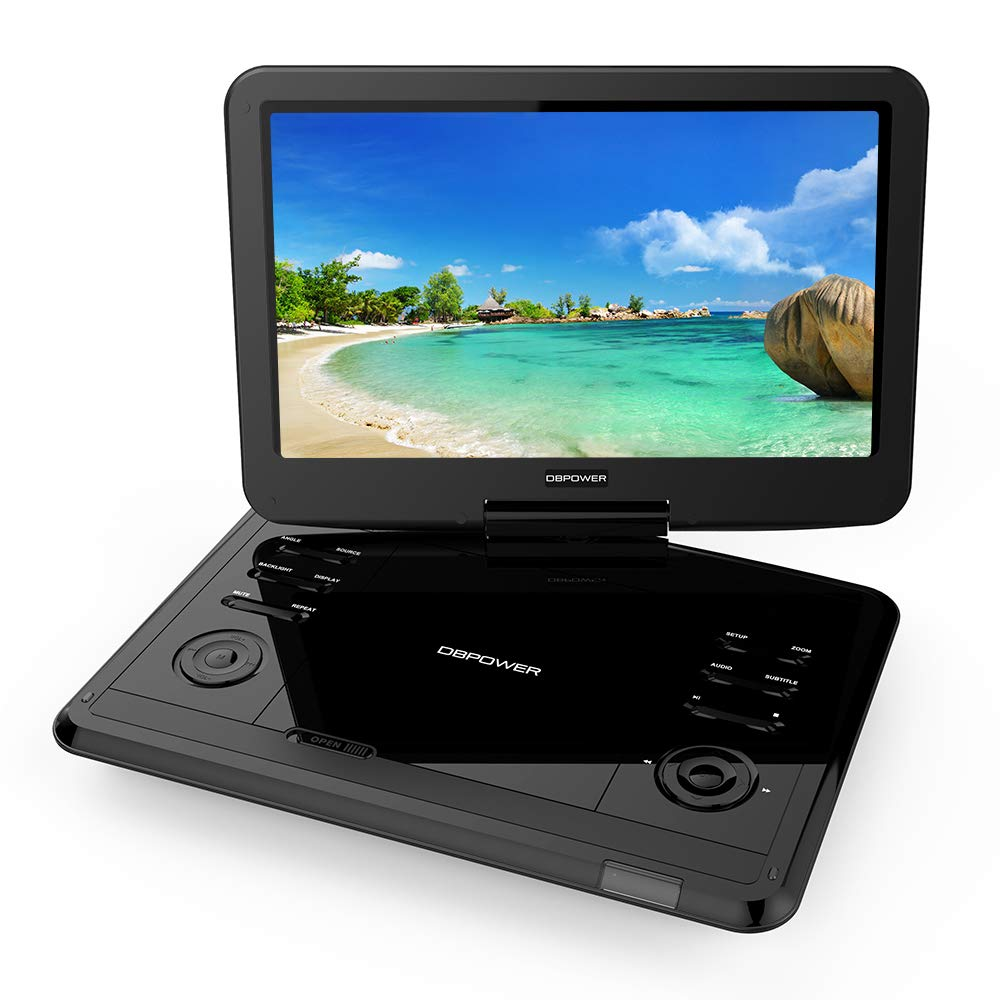 DBPOWER 12.1'' Portable DVD Player with Rechargeable Battery, Swivel Screen, Supports SD Card and USB, with 1.8M Car Charger and 1.8M Power Adaptor (Black)