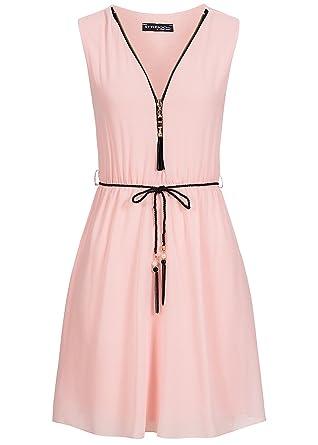 Violet Fashion Damen Kleid mit V-Ausschnitt und Kordelgürtel Reißverschluss  vorne rosa, Gr  M  Amazon.de  Bekleidung c367bc3d0c