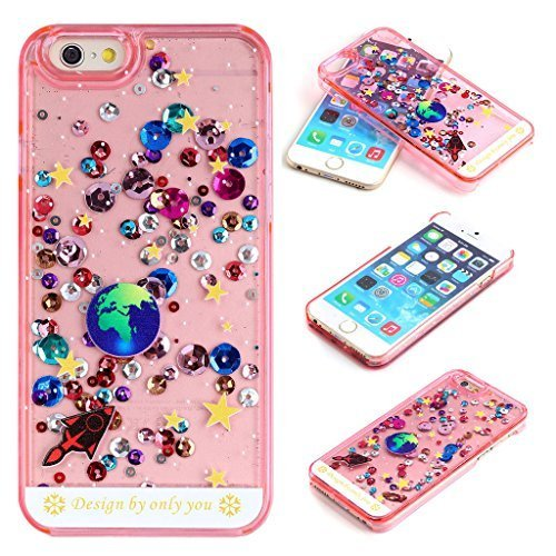 Yoption Liquid Case for iPhone 6 6s 4.7,Starry Sky Transparent Plastic 3D Glitter Creative Design Flowing Floating Glitter Sparkle Universe of Stars Hard Case Cover for iPhone 6 6s 4.7(Pink)