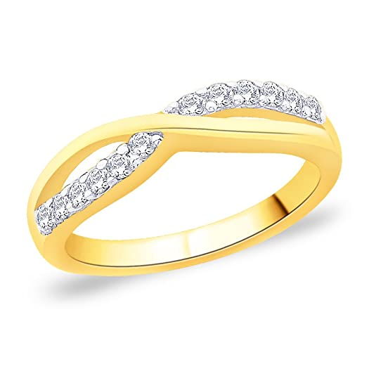 Peora 925 Silver 18 Karat Gold Plated Ring made with SWAROVSKI ZIRCONIA for Women at amazon