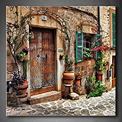 First Wall Art - Streets Of Old Mediterranean Towns Flower Door Windows Wall Art Painting The Picture Print On Canvas Architecture Pictures For Home Decor Decoration Gift (Stretched By Wooden Frame,Ready To Hang)