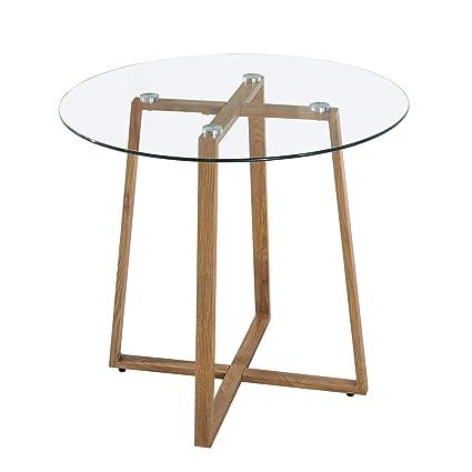 Ipotius Table Salle à Manger En Verre Scandinave Table Ronde 80cm Pour 2 à 4 Personnes Table De Cuisine Moderne Avec Pieds En Métal 80x75cm