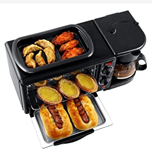 Household Multifunctional Breakfast Machine 3 in 1 Electric Oven Bread Machine Toaster Oven Pizza Maker Coffee Maker Frying Pan