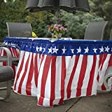 Fun Express Patriotic USA Red White & Blue Tableskirt for July 4th Party | 14 Ft. X 29"