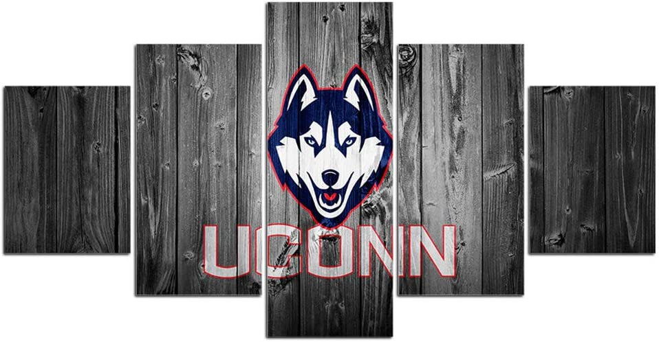 Uconn Basketball Wall Decor Art Paintings 5 Piece Canvas Picture Artwork Living Room Prints Poster Decoration Wooden Framed Ready to Hang(60''Wx32''H)