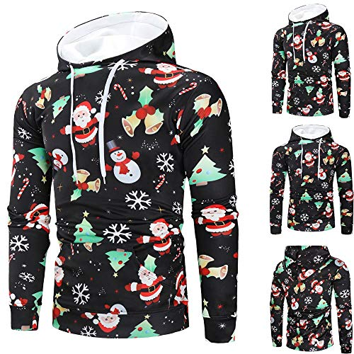 Price comparison product image Fainosmny Mens Hoodies Christmas Sweater 3D Print Jacket Coat Hooded Sweatshirt Slim Pullover Blouse Winter Warm Parka Tops