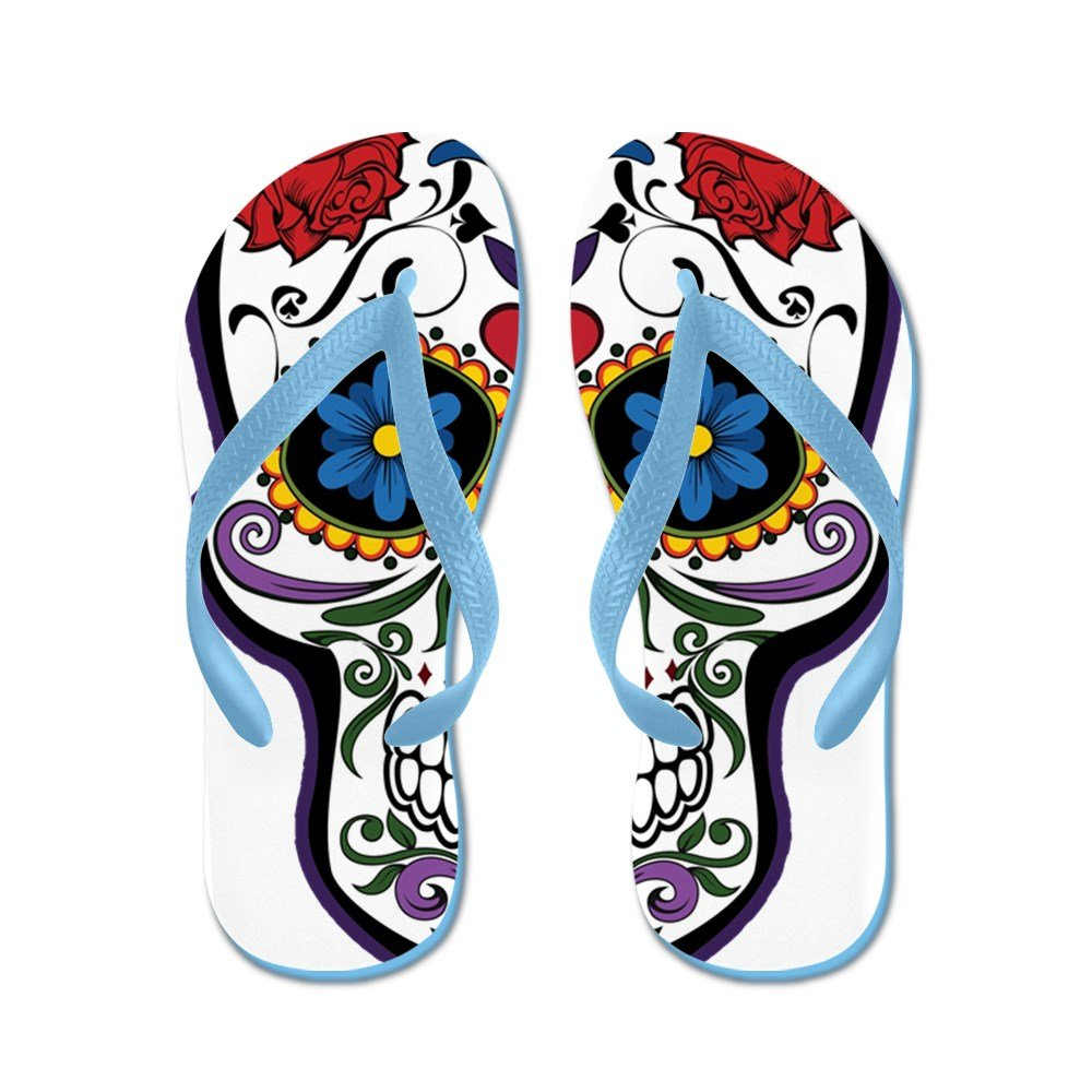 5bf0d0db827dc3 Amazon.com  Truly Teague Kid s Floral Sugar Skull Day of the Dead Rubber Flip  Flops Sandals  Clothing