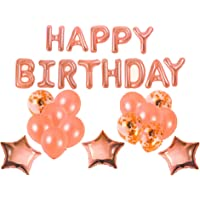 Forzza Happy Birthday Balloons Set in Rose Gold for Party Decoration/Celebration