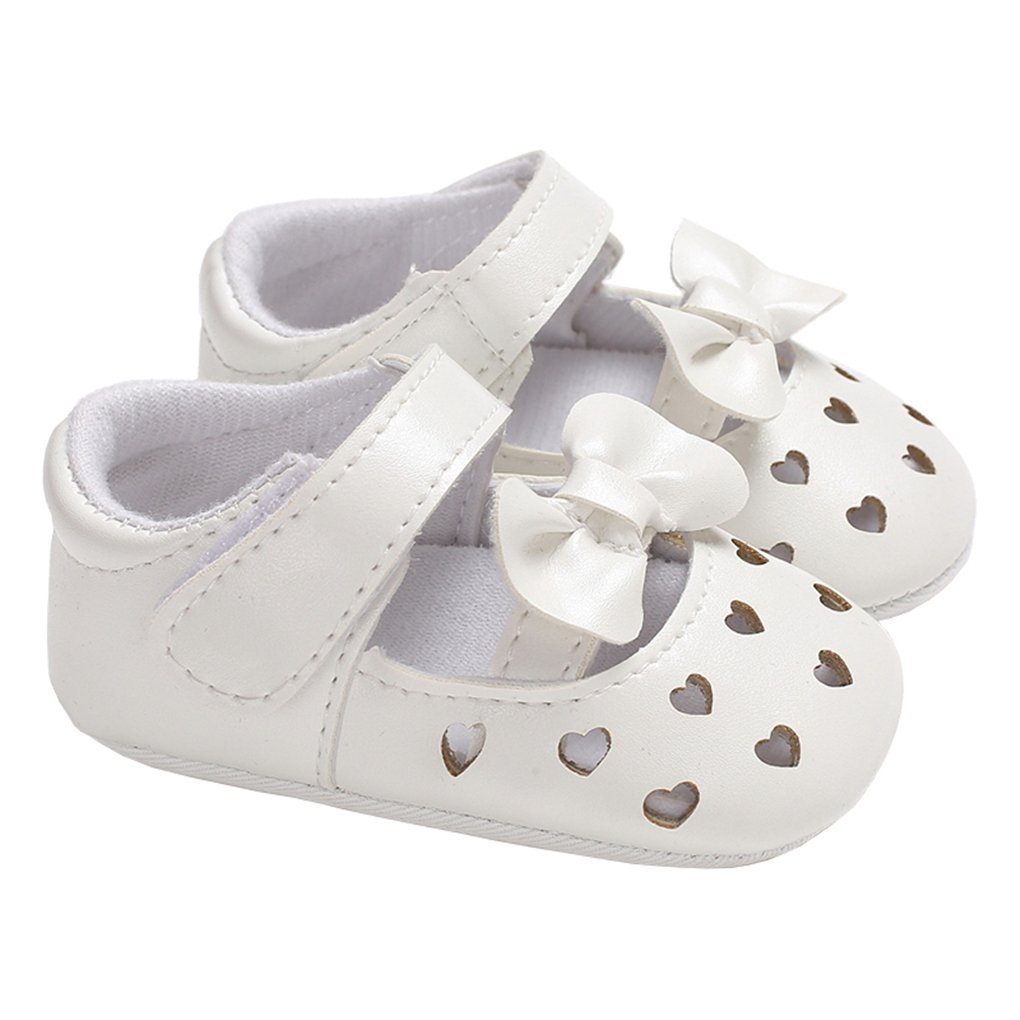 Baby Girls Hollow Love Heart Bowknot Mary Jane Flat Princess Dress Crib Shoes White Size M