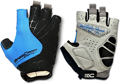 FreeMaster Fingerless Cycling Gloves Mountain Road Bike Bicycle Gloves Blue, M
