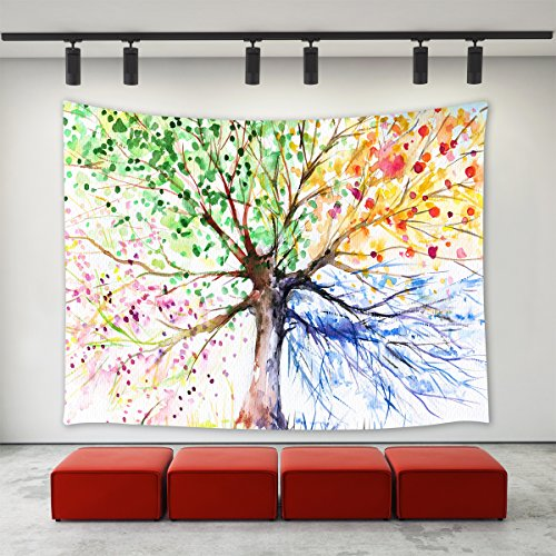 (LBKT Custom Tree Life Tapestries Colorful Abstract Watercolor Art Hand Painted Illustration Four Season Tree Tapestry Wall Hanging Bedroom Living Room Dorm 60