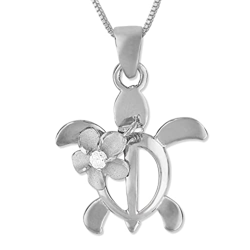 Sterling Silver Turtle Plumeria Pendant Necklace, 16 2 Extender