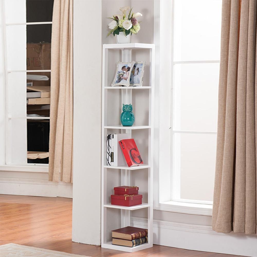 Yaheetech 5-Tier Bookshelf Wood Wall Corner Bookcase Storage Shelves Organizer Corner Shelf Unit Display Rack White