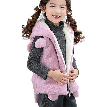 Niños niña pelo sintético Capucha Chaqueta Abrigo Chaleco para 2 – 6jahre de wongfon morado Helle