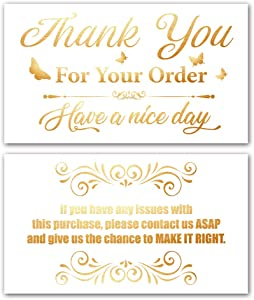 50 White Bright Gold Thank You for Your Order Cards (3.5 x 2 Inches) for Online, Retail Store, Handmade Foods, Customer Package Inserts, Double-sided printing with Different Patterns