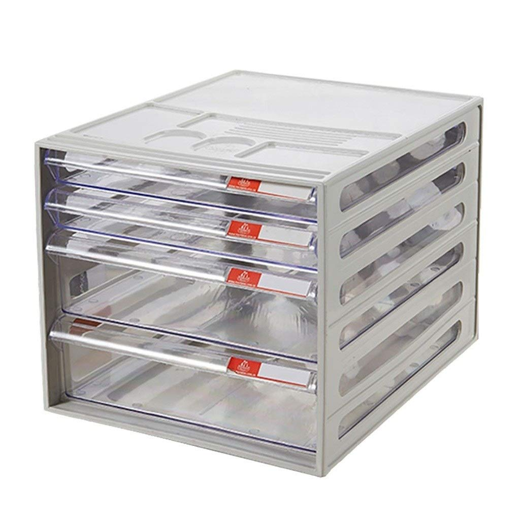 Bxwjg 4-Layers File Cabinet, Plastic Storage Drawers Desk Storage Unit Organizer A4 Box, Grey(Size: 10.413.69.6in) by Bxwjg