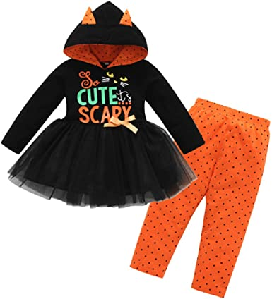 LuckyBB Baby Girls Clothes for 1-4 Years Old Halloween Toddler Baby Girls Letter Tops Dress Hoodie Print Dot Pant Clothes Set