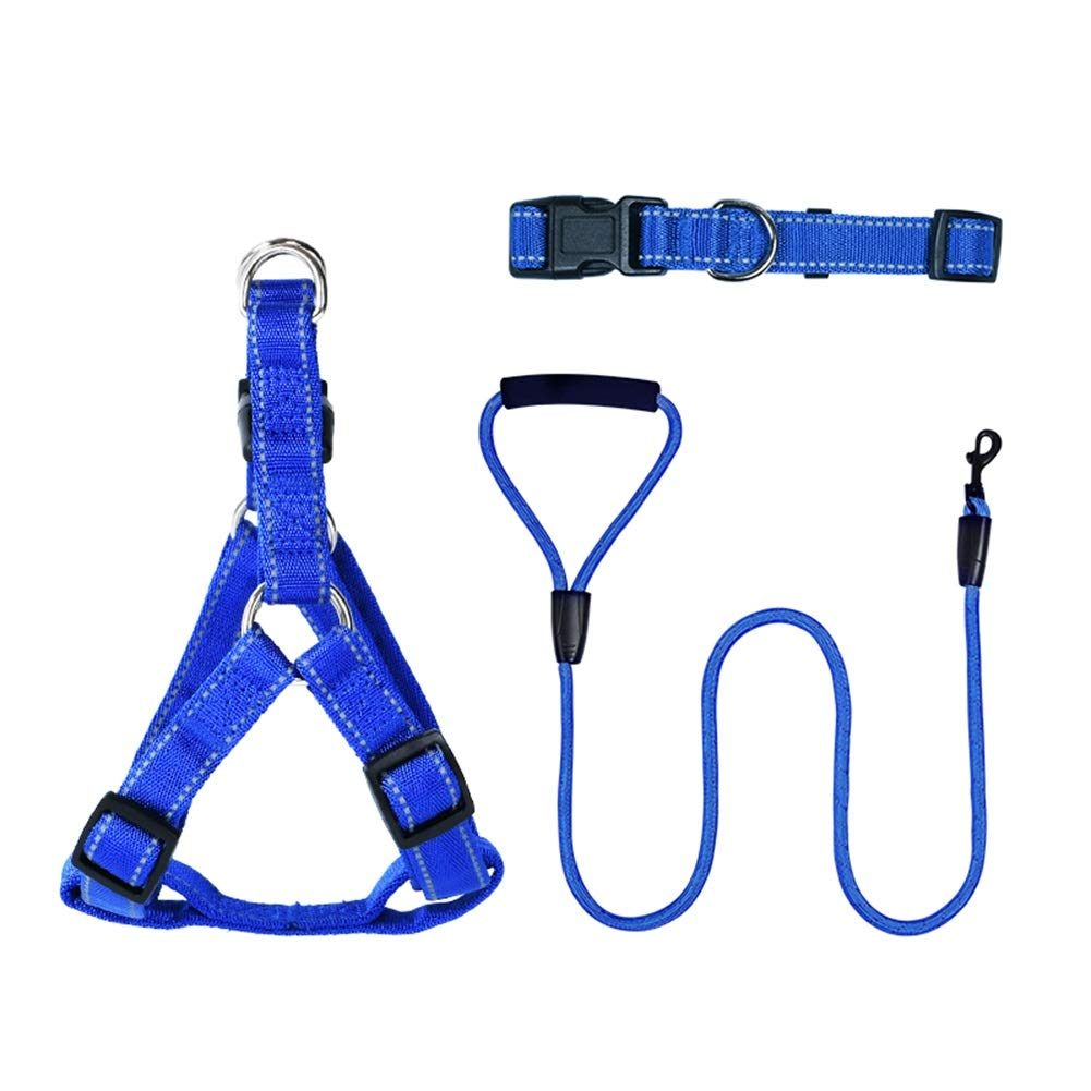 Blue XS Blue XS Dog Leash, Dog Leash Reflective Nylon Lead -, Costume a tre pezzi regolabile (Corda Collari a catena toracica) Cani Leash (Colore: Blu, Dimensione: XS)