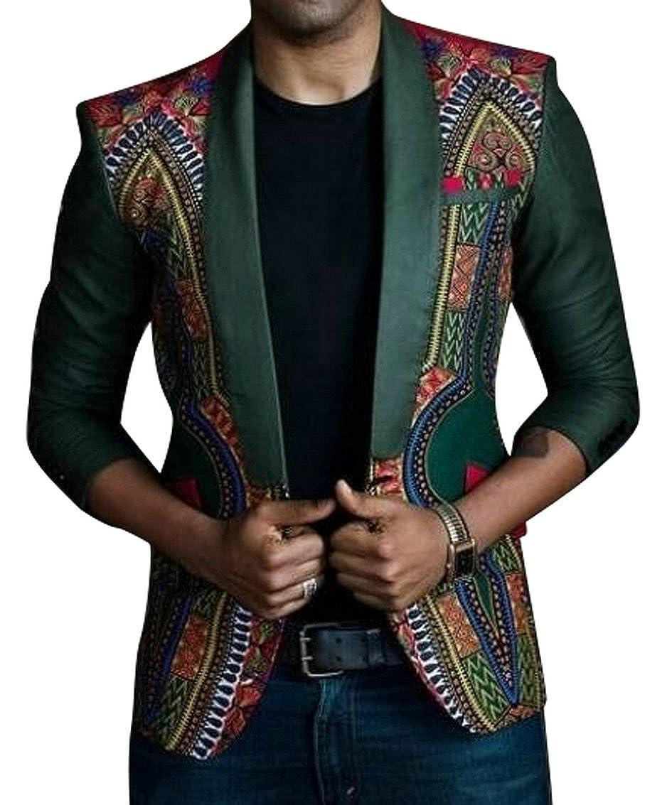 SHOWNO-Men Retro Lapel One Button African Print Dashiki Slim Fit Blazer Suit Jacket