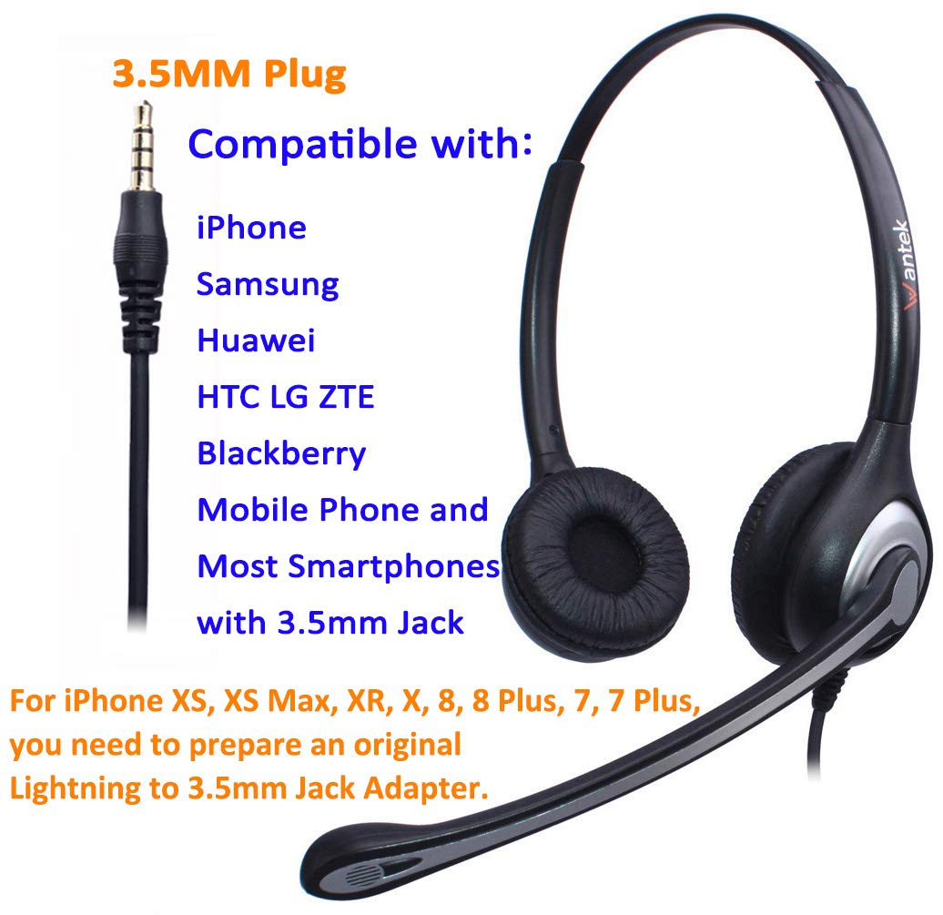 Super Lightweight Wantek UC Business Headset for Skype Crystal Clear Chat Ultra Comfort Corded USB Headsets Stereo with Noise Cancelling Mic and in-line Controls SoftPhone UC602 Call Center