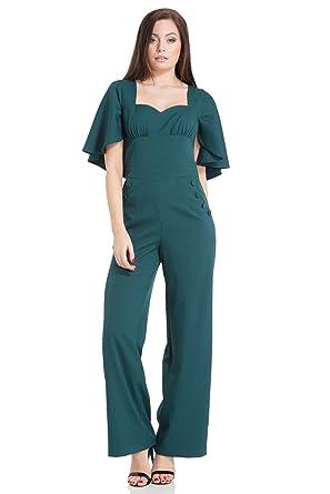 1ccc87778db VOODOO VIXEN Esmeralda Cape Sleeve Jumpsuit  Amazon.co.uk  Clothing